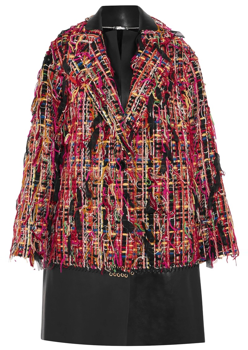 Alexander Mcqueen Woman Leather-paneled Fringed Bouclé-tweed Coat Multicolor