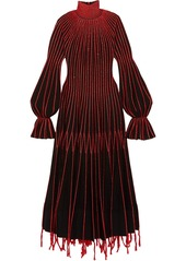 Alexander Mcqueen Woman Embroidered Plissé-silk Turtleneck Dress Black