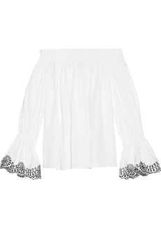 Alexander Mcqueen Woman Off-the-shoulder Broderie Anglaise-trimmed Cotton-poplin Top White