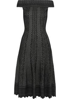 Alexander Mcqueen Woman Off-the-shoulder Jacquard-knit Dress Black