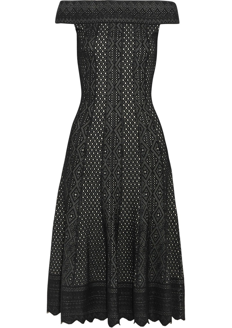 Alexander Mcqueen Woman Off-the-shoulder Jacquard-knit Dress Black