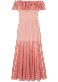 Alexander Mcqueen Woman Off-the-shoulder Mesh-paneled Ruffled Knitted Midi Dress Blush