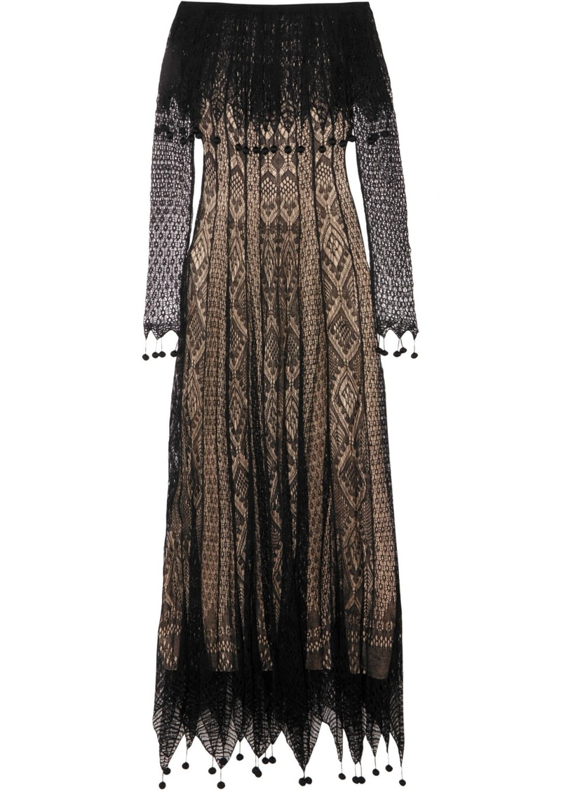 Alexander Mcqueen Woman Off-the-shoulder Pompom-trimmed Silk-lace Maxi Dress Black