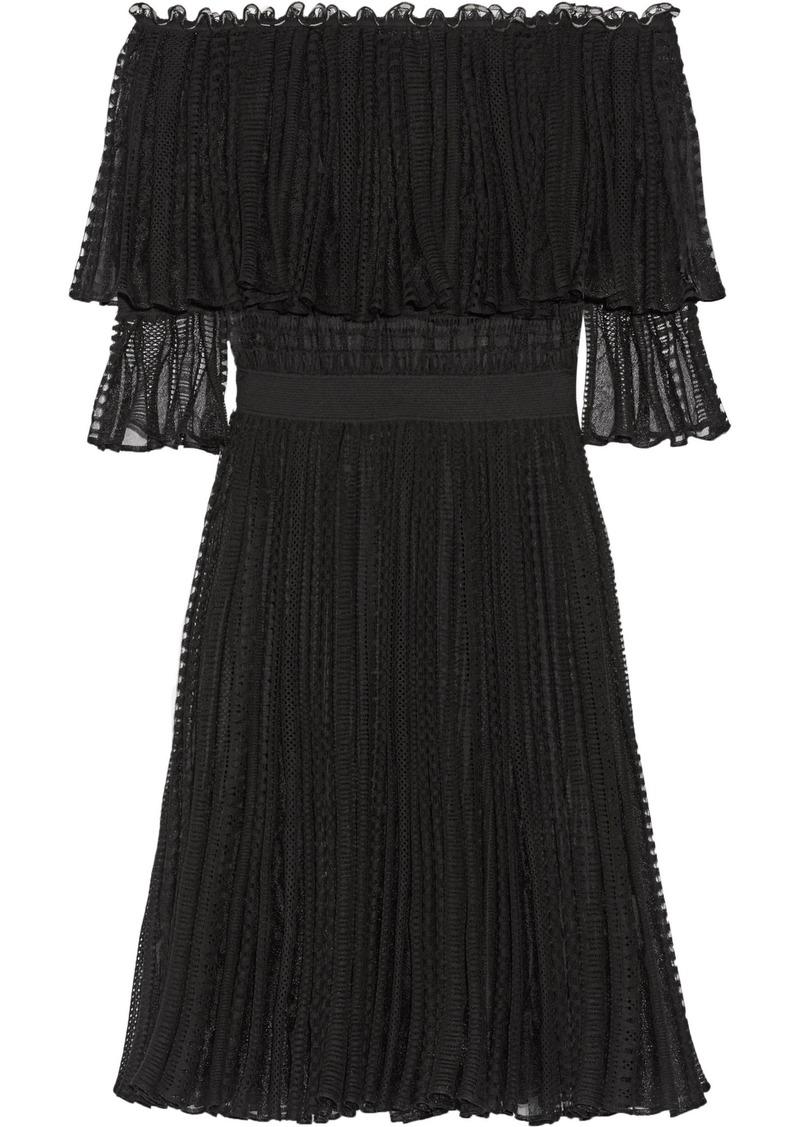 Alexander Mcqueen Woman Off-the-shoulder Ruffled Knitted Dress Black