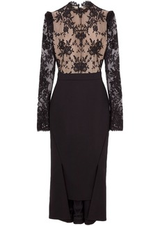 Alexander Mcqueen Woman Open-back Lace And Wool-blend Crepe Midi Dress Black
