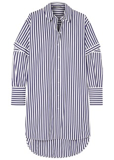 Alexander Mcqueen Woman Oversized Convertible Striped Cotton-poplin Shirt Indigo