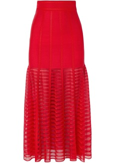 Alexander Mcqueen Woman Paneled Lace And Open-knit Midi Skirt Red