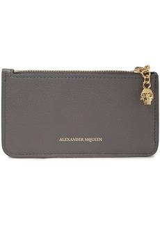 Alexander Mcqueen Woman Pebbled-leather Wallet Gray