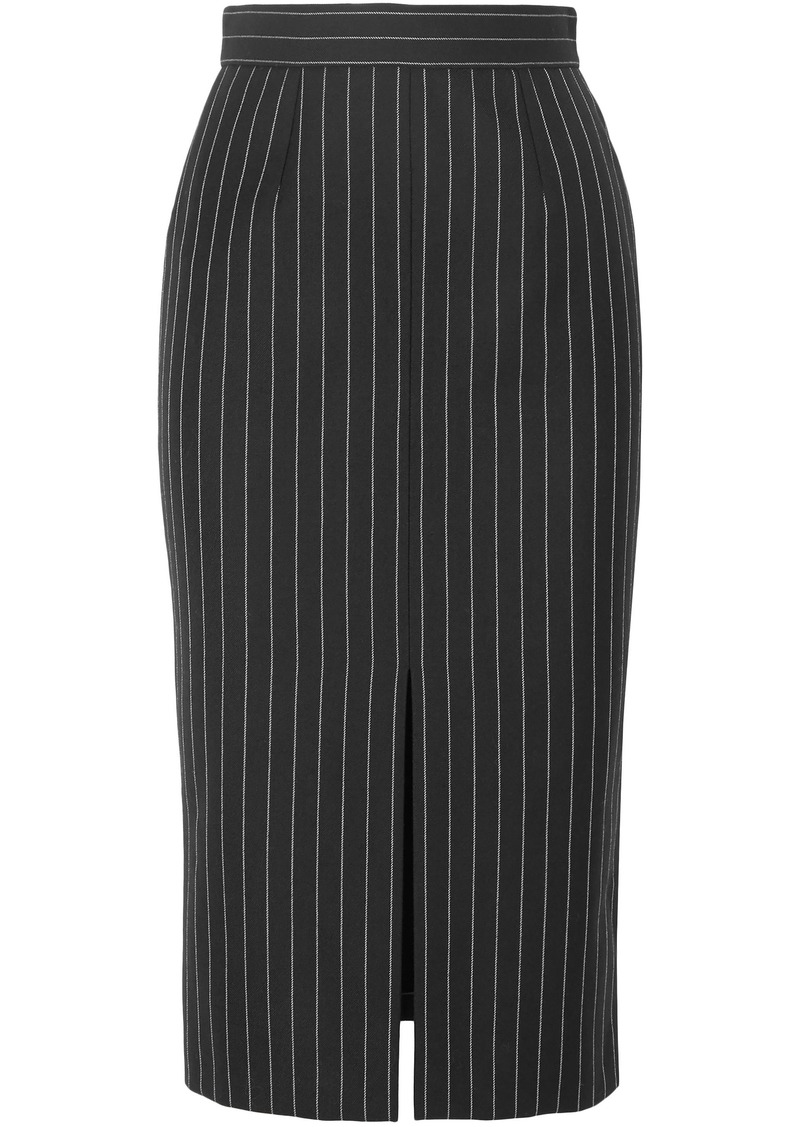 Alexander Mcqueen Woman Pinstriped Wool-blend Pencil Skirt Black