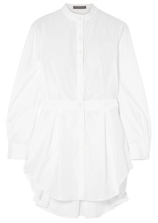 Alexander Mcqueen Woman Piqué-trimmed Pleated Cotton-poplin Shirt White