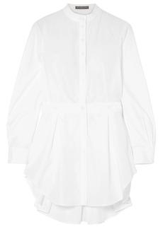 Alexander Mcqueen Woman Piqué-trimmed Pleated Cotton-poplin Shirt White