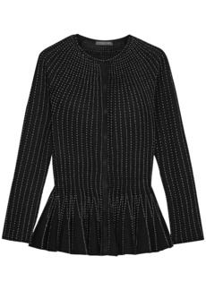 Alexander Mcqueen Woman Pleated Metallic Silk-blend Peplum Cardigan Black