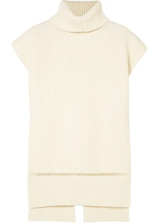 Alexander Mcqueen Woman Pointelle-trimmed Ribbed Wool And Cashmere-blend Turtleneck Sweater Ivory
