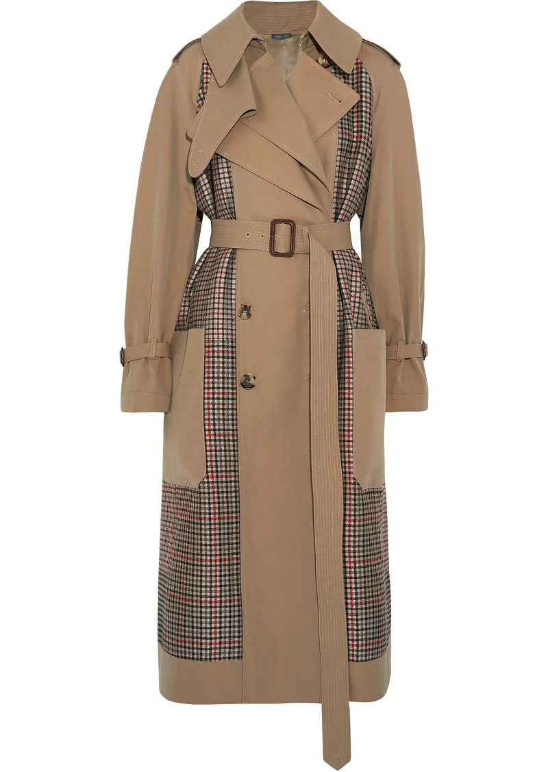 Alexander Mcqueen Woman Prince Of Wales Checked Tweed And Gabardine Trench Coat Sand