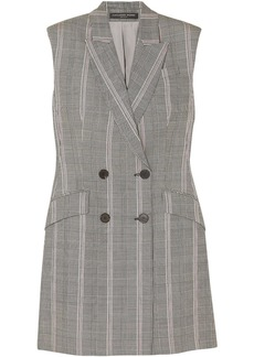 Alexander Mcqueen Woman Prince Of Wales Checked Wool Mini Dress Gray