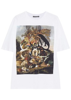 Alexander Mcqueen Woman Printed Cotton-jersey T-shirt White