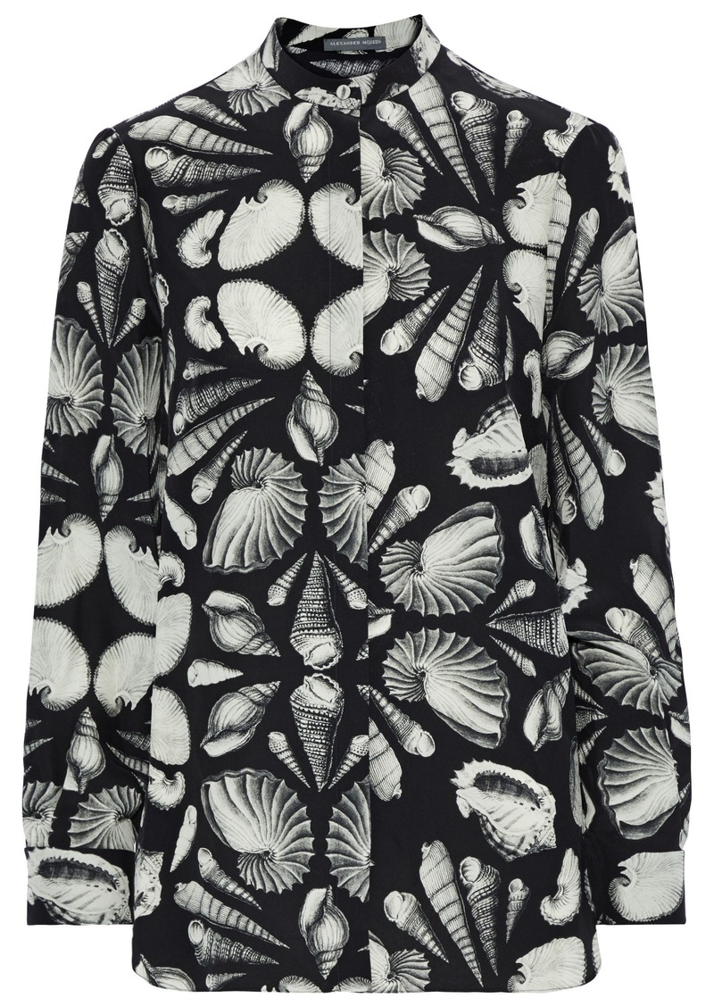 Alexander Mcqueen Woman Printed Silk-chiffon Shirt Black
