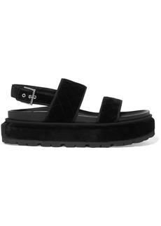 Alexander Mcqueen Woman Quilted Velvet Platform Sandals Black