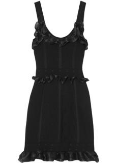 Alexander Mcqueen Woman Ruffle-trimmed Cloqué-knit Mini Dress Black
