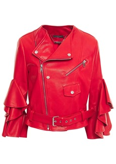 Alexander Mcqueen Woman Ruffled Leather Biker Jacket Red