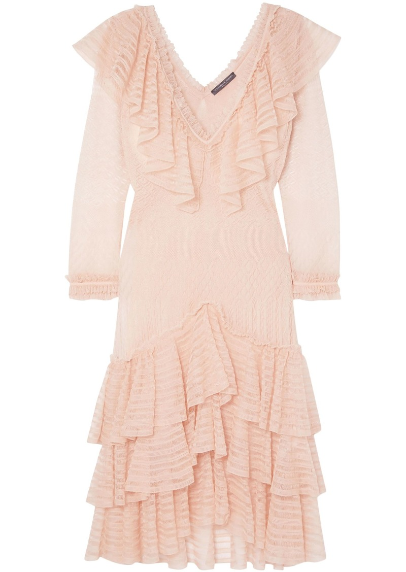 Alexander Mcqueen Woman Ruffled Knitted Silk Mini Dress Blush