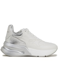 Alexander Mcqueen Woman Runner Two-tone Leather Sneakers Silver
