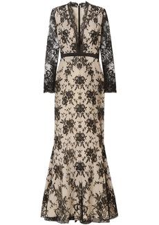 Alexander Mcqueen Woman Satin-trimmed Cotton-blend Lace Gown Black