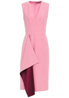 Alexander Mcqueen Woman Satin-trimmed Draped Wool-blend Crepe Midi Dress Baby Pink