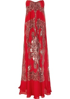 Alexander Mcqueen Woman Strapless Printed Silk-chiffon Gown Red
