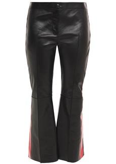 Alexander Mcqueen Woman Striped Leather Kick-flare Pants Black