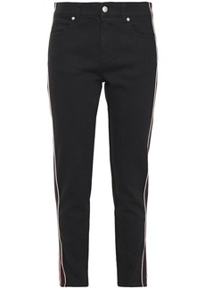 Alexander Mcqueen Woman Striped Mid-rise Slim-leg Jeans Black
