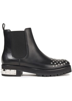 Alexander Mcqueen Woman Studded Leather Ankle Boots Black