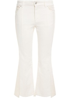 Alexander Mcqueen Woman Two-tone High-rise Kick-flare Jeans White