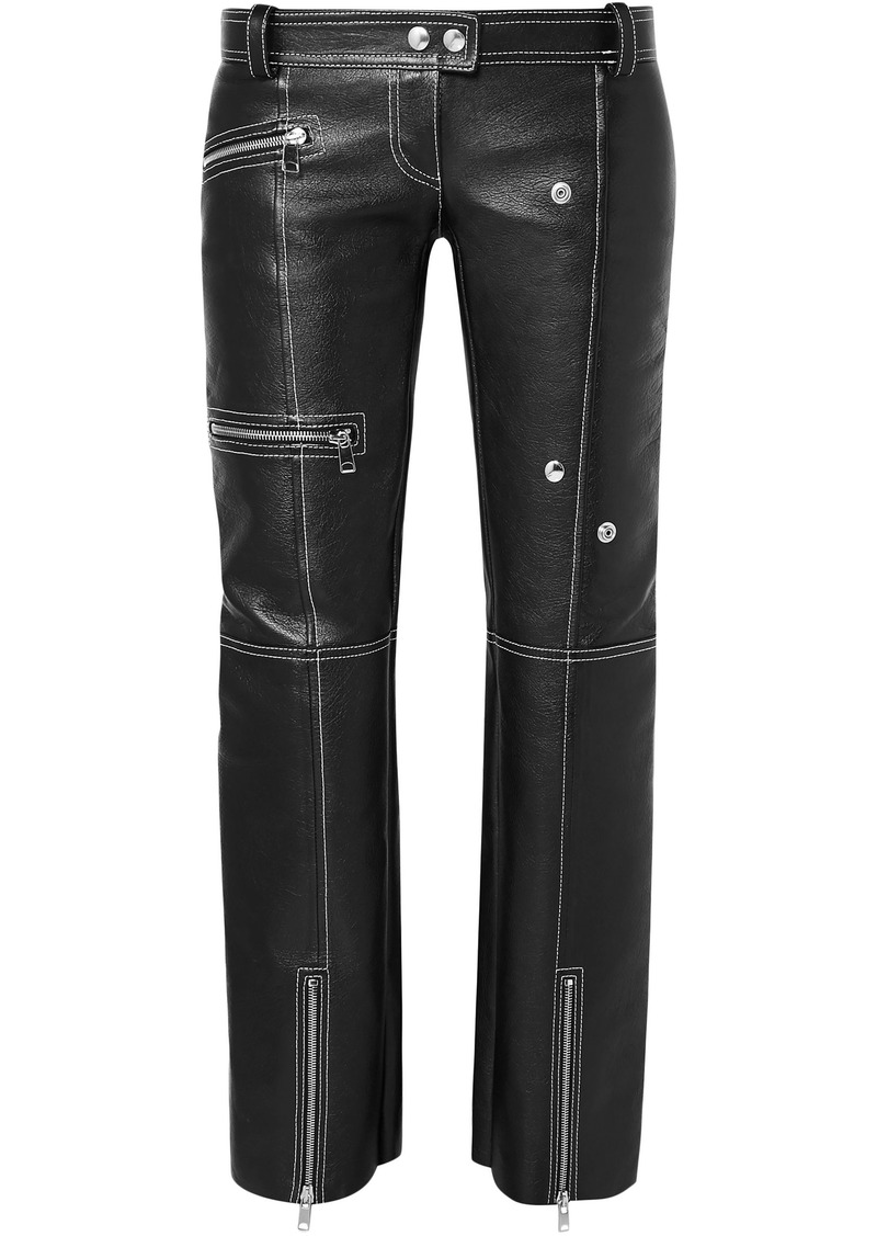 Alexander Mcqueen Woman Zip-detailed Textured-leather Straight-leg Pants Black
