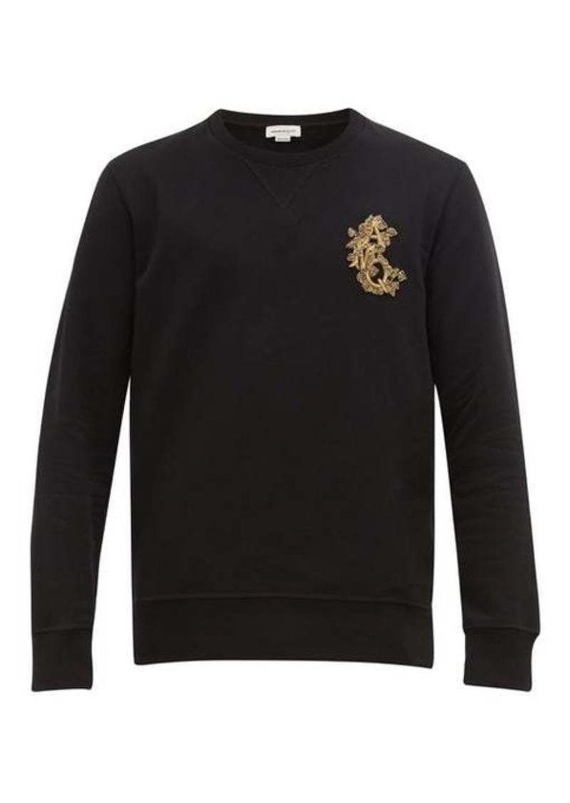 Alexander McQueen Zardozi-embroidered logo cotton sweatshirt