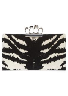 Alexander McQueen Zebra Print Knuckle Clasp Clutch