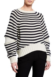 Alexander McQueen Zip-Elbow Striped Wool Sweater