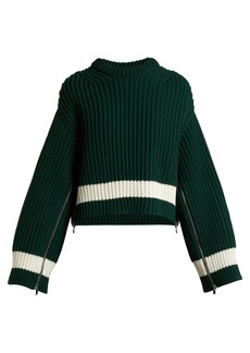 Alexander McQueen Zip-sleeved step-hem wool-blend sweater