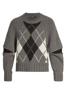 Alexander McQueen Zipped-sleeve argyle-knit wool sweater