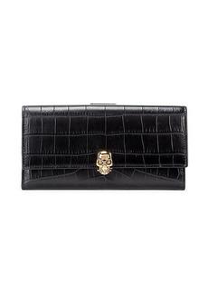Alexander McQueen Alligator-Embossed Leather Continental Wallet