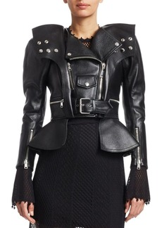 Alexander McQueen Armour Leather Peplum Moto Jacket