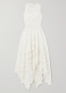 Alexander McQueen Asymmetric Cotton-blend Corded Lace Dress