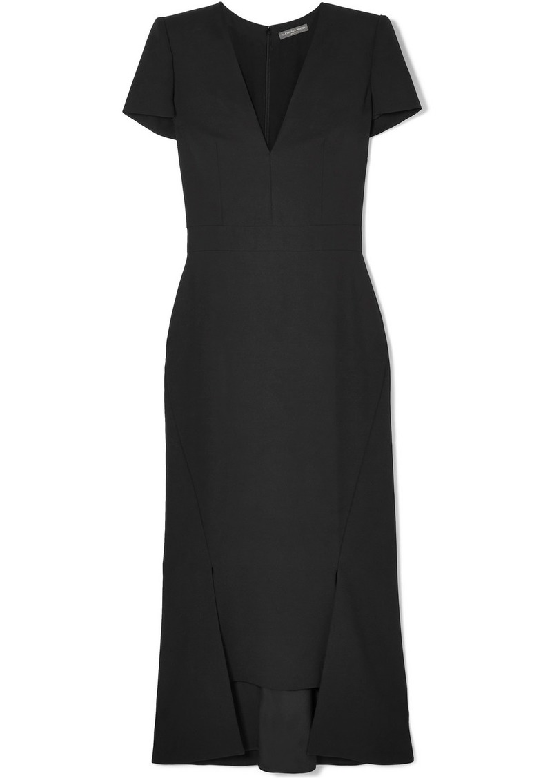 Alexander McQueen Asymmetric Crepe Midi Dress
