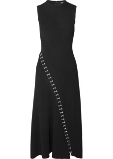 Alexander McQueen Asymmetric Eyelet-embellished Ribbed Stretch-knit Midi Dress