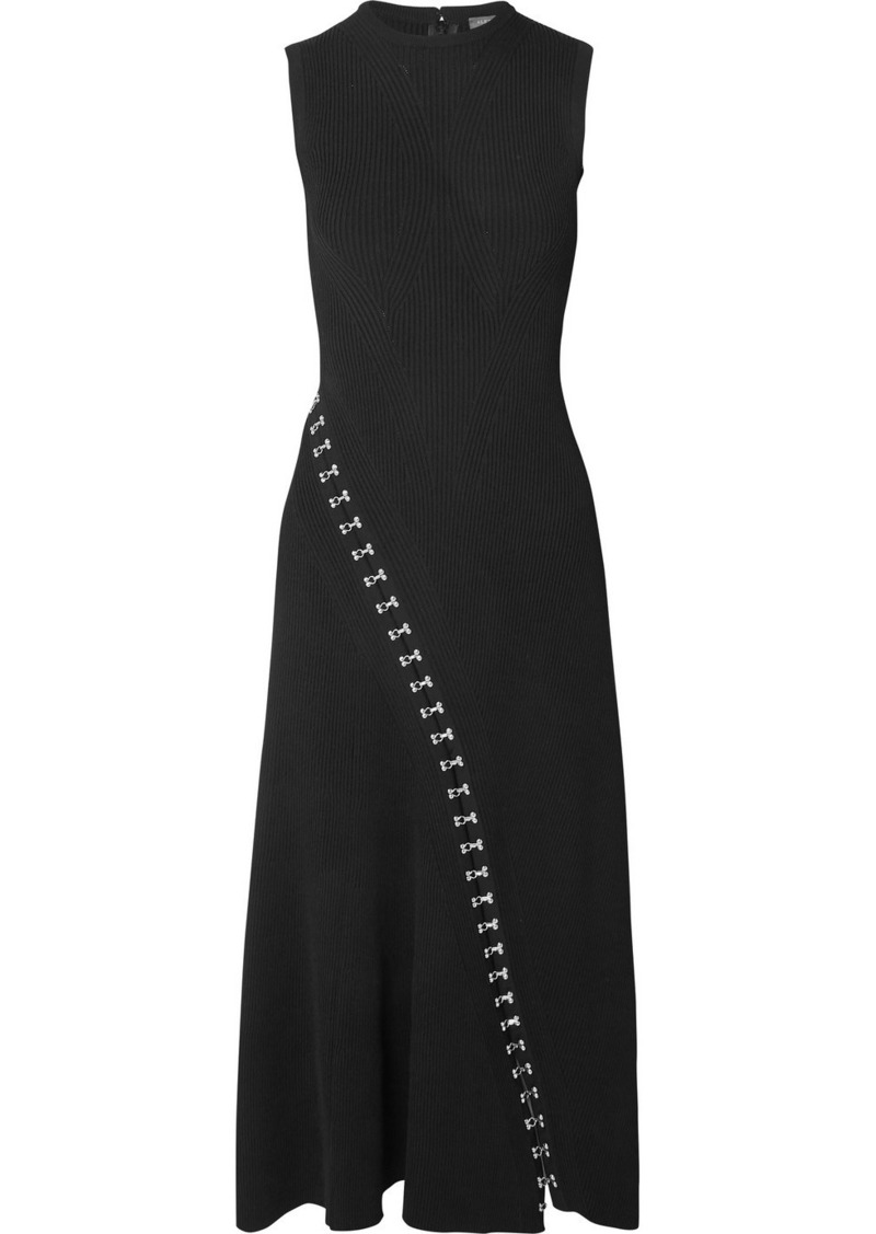 Alexander McQueen Asymmetric Eyelet-embellished Ribbed Stretch-knit Midi Dress