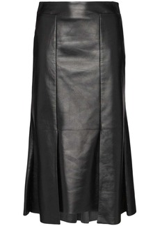 Alexander McQueen asymmetric flared midi leather skirt