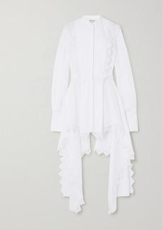 Alexander McQueen Asymmetric Lace-trimmed Cotton-piqué Blouse