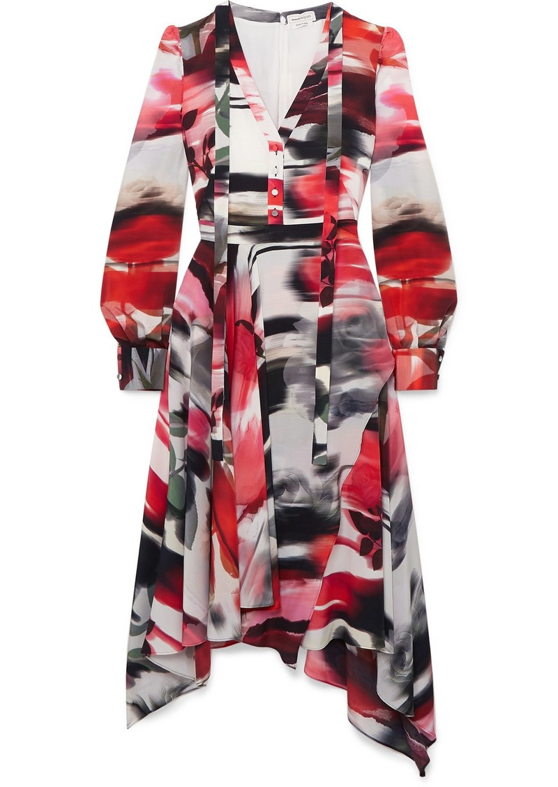 Alexander McQueen Asymmetric Printed Silk Crepe De Chine Midi Dress