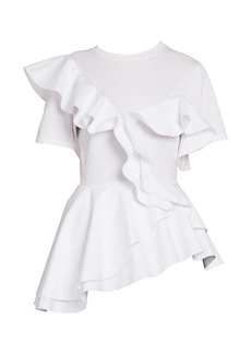 Alexander McQueen Asymmetric Ruffle T-Shirt