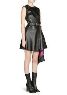 Alexander McQueen Asymmetrical Hem Leather Mini Dress